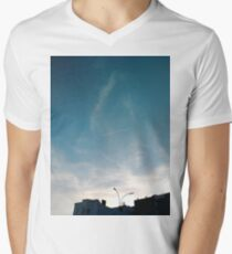 Building, Skyscraper, New York, Manhattan, Street, Pedestrians, Cars, Towers Men's V-Neck T-Shirt
