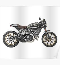 Cafe Racer Drawing Posters Redbubble