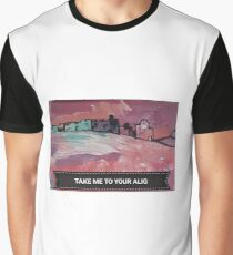 """""""Take me to your Alig"""" UFO cityscape Graphic T-Shirt"""