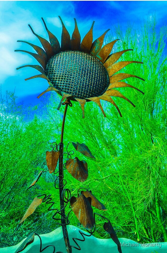 Metal Sunflower Art Sculpture  by Michael Moriarty