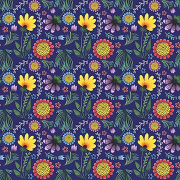 Folksy Flowers (Blue) by christinadesign