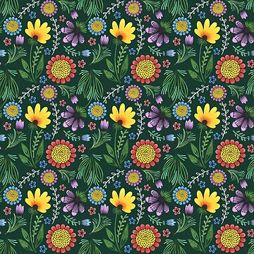 Folksy Flowers (Green) by christinadesign