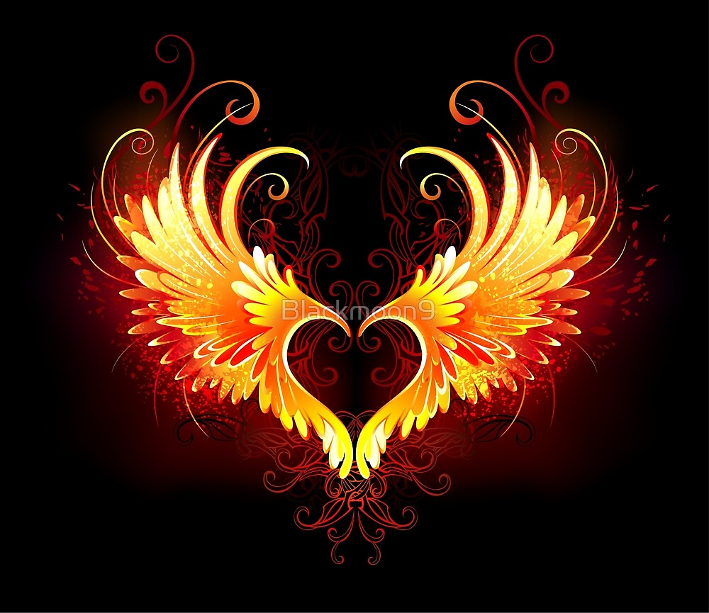 """""""Angel Fire Heart with Wings"""" by Blackmoon9   Redbubble"""