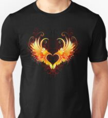 Angel Fire Heart with Wings Unisex T-Shirt