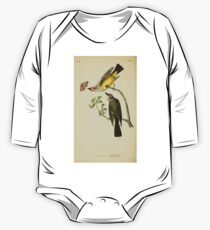 James Audubon Vector Rebuild - The Birds of America - From Drawings Made in the United States and Their Territories V 1-7 1840 - Arkansaw Flycatcher One Piece - Long Sleeve