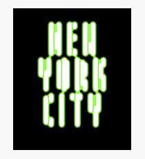 NYC New York City Glowing Effect Green Sci Fi T-shirt Photographic Print