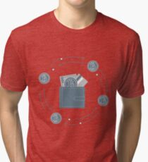 Purse with banknote, credit card and bitcoin. Tri-blend T-Shirt