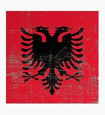 scratched Albania flag Photographic Print