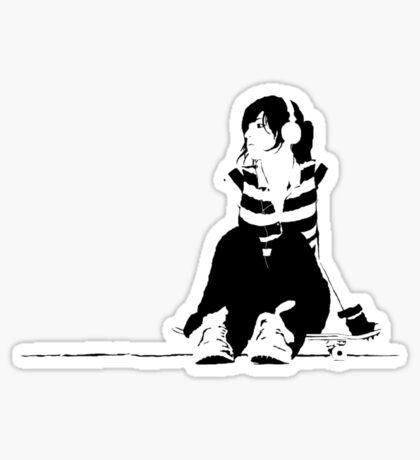 skater girl headphones Sticker