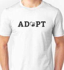 ADOPT Dog Cat Rescue Animals Heart Paw Print  Unisex T-Shirt