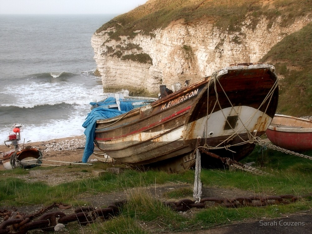 Boats at Thornwick Bay by Sarah Couzens