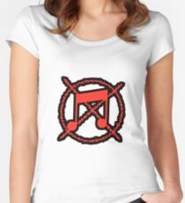 Noise Not Music Red Outlined Fitted Scoop T-Shirt