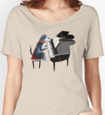 Piano lesson (Doggy Art) Women's Relaxed Fit T-Shirt