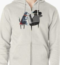 Piano lesson (Doggy Art) Zipped Hoodie
