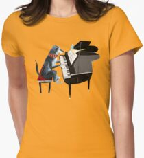 Piano lesson (Doggy Art) Women's Fitted T-Shirt