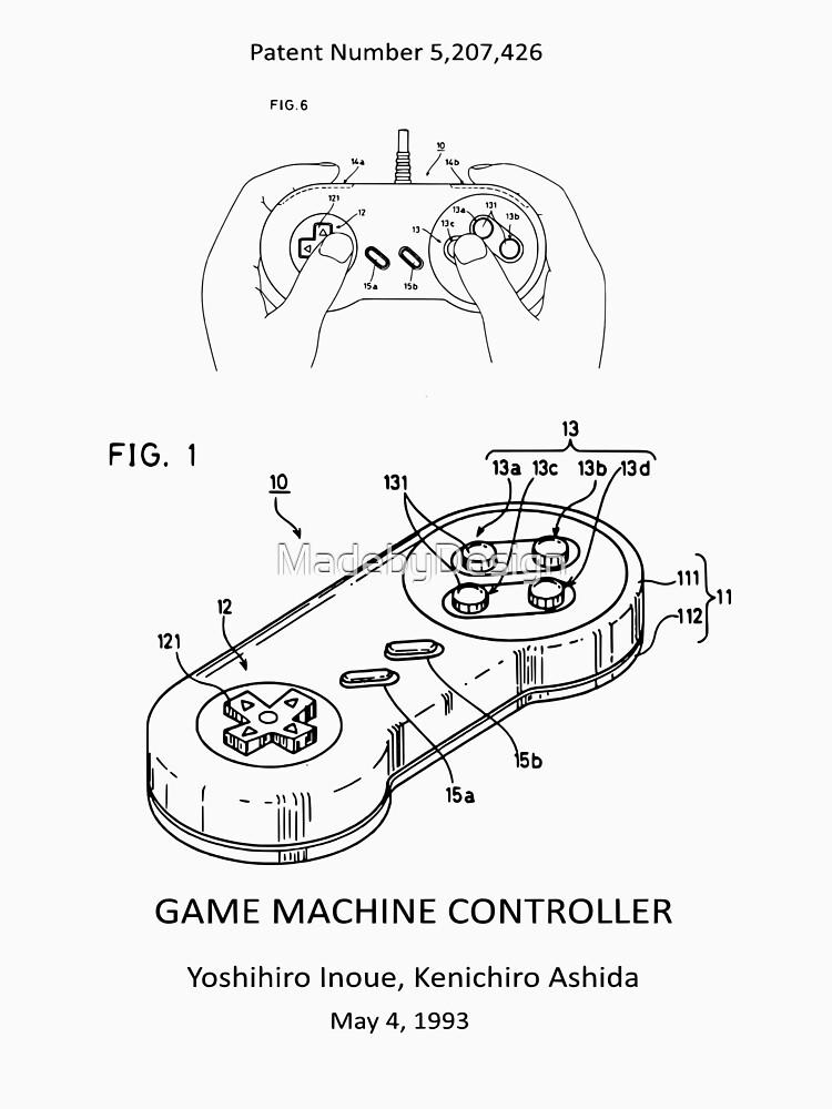 Game Machine Controller Nintendo 64 Patent Print T Shirt By