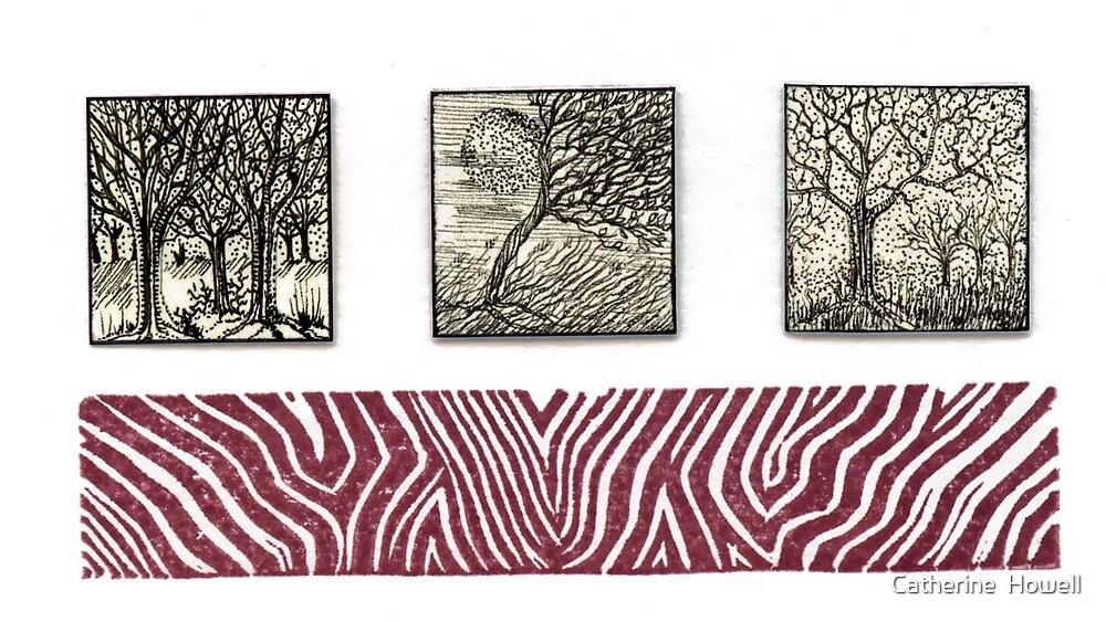 Inchie Trio With Linocut Zebra  by Catherine  Howell