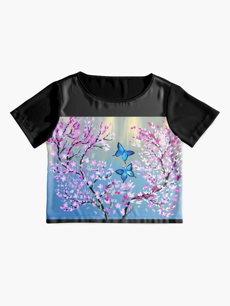 Alternative Ansicht von Schmetterlinge und Kirschblütenzweige Chiffon Top