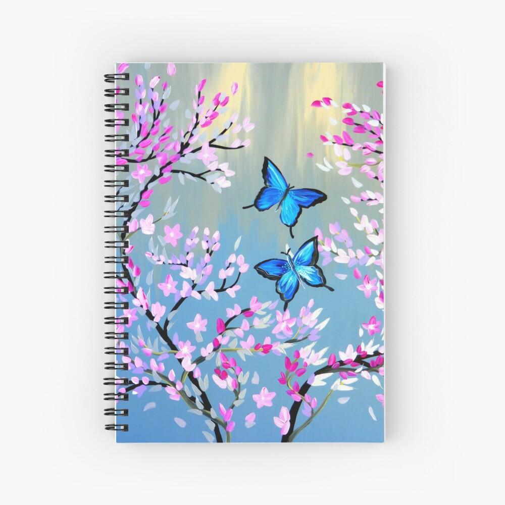 Schmetterlinge und Kirschblütenzweige Spiralblock