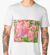 Beautiful tulips flower closeup in a garden Men's Premium T-Shirt