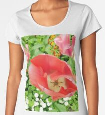 Top view of a pink tulips  Women's Premium T-Shirt