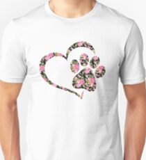 Love Dogs Cats Paw Print Heart  Unisex T-Shirt
