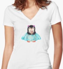 Funny cartoon penguin with cake Women's Fitted V-Neck T-Shirt