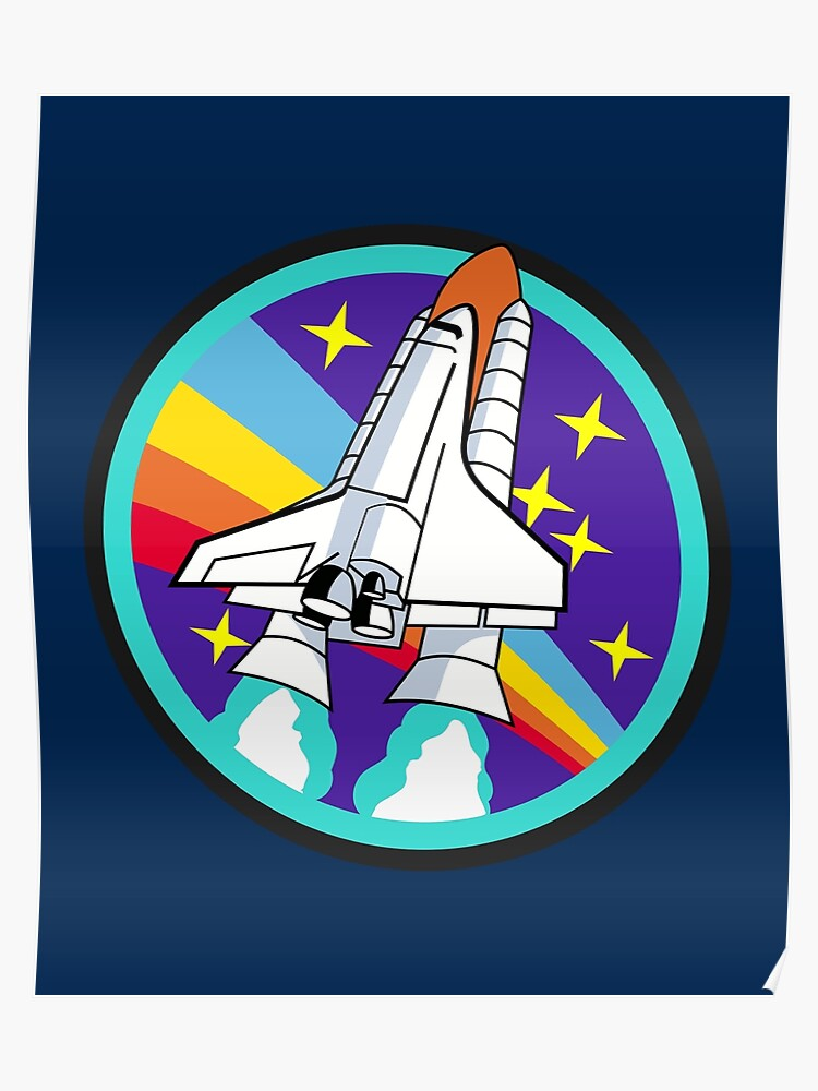 Space Rocket, Space Shuttle, Illustration  For Boys, Kids | Poster