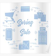 Spring sale. Shopping icons. Poster
