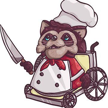 Overcooked Wheelchair Raccoon Chef by Nintendart