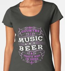 a2e81c20e ... V-Neck T-Shirt. Country Music and Beer That s Why I m Here Women s  Premium ...