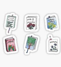 Jane Austen Books with Flowers! Sticker