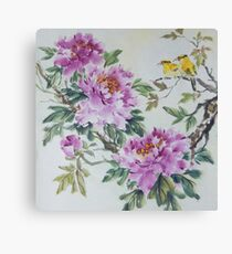 Peony and Yellow Birds Canvas Print