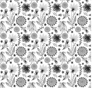 Folksy Flowers (Black & White) by christinadesign