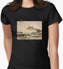 'Mountain Landscape with a Bridge' by Katsushika Hokusai (Reproduction) T-Shirt