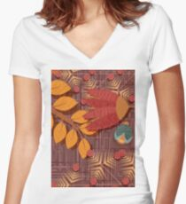 flower pattern Women's Fitted V-Neck T-Shirt