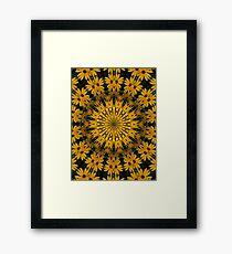 Black-Eyed Susans Abstract Mandala Kaleidoscope 1 Framed Print