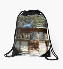 cabin in the woods Drawstring Bag