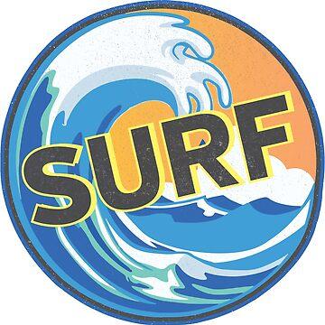 Retro Surf Wave Sticker by ericbracewell