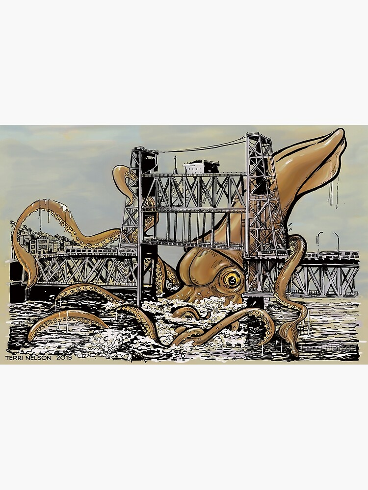 Kraken vs. The Steel Bridge by terridrawsstuff
