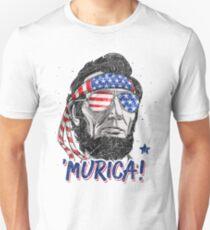 Camiseta ajustada Merica Abe Lincoln camiseta 4 de julio Bandera estadounidense Murica