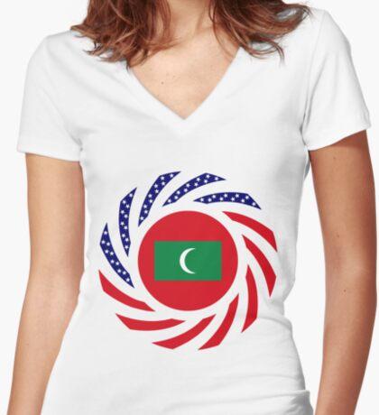 Maldivan American Multinational Patriot Flag Series Fitted V-Neck T-Shirt