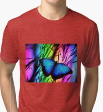Psychedelic Fluorescent Blue Butterfly  Tri-blend T-Shirt