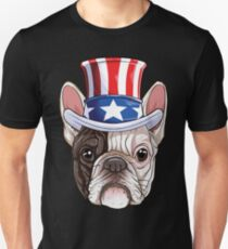 French Bulldog American Flag Hat T shirt 4th of July Dog Tee Unisex T-Shirt