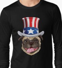 Pug American USA Flag Hat T shirt 4th of July Dog Puppy Gift Long Sleeve T-Shirt