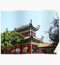 Decorative Chinese Roof - China Baomo Garden - Chinese New Year - Guangzhou, China Poster