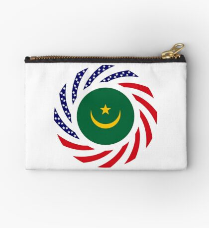Mauritanian American Multinational Patriot Flag Series Zipper Pouch