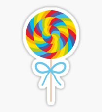 candy lollipops with bow, colorful spiral candy cane Sticker