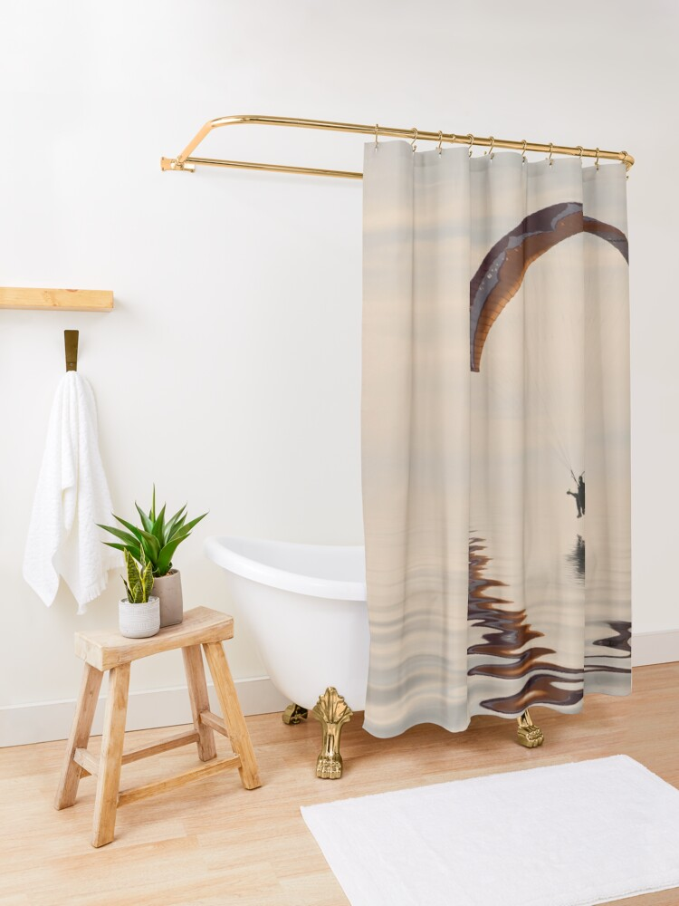 Alternate view of Powered paraglider Shower Curtain
