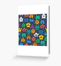 Funny Pixel Monsters Greeting Card
